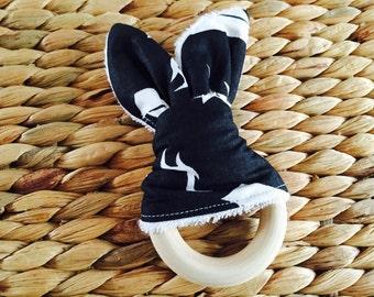 Bunny Ear Organic Wood Teething Ring!
