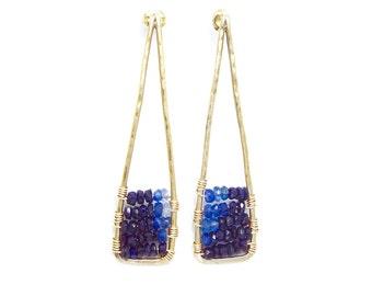 Blue Sapphire Hammered sterling 14k gold filled wire stud earring - triangle earring/ hoop earring/ geometry earring