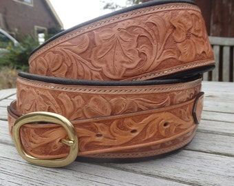 Custom, tooled, leather guitar strap