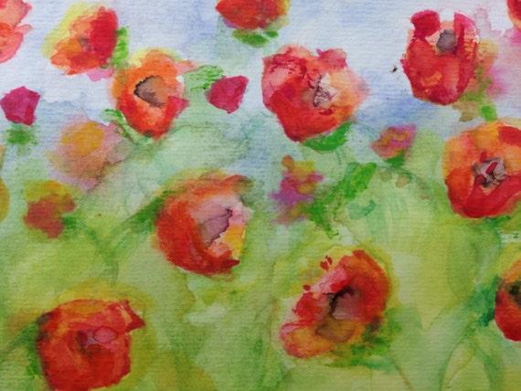 Poppies Watercolor Painting Original 4x6 Flower ArtPoppies Watercolor Painting