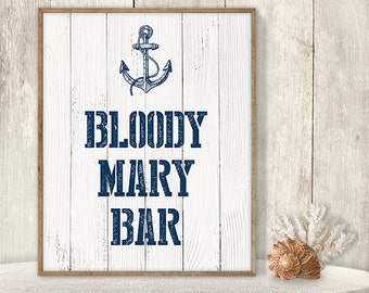 Bloody Mary Bar Sign // Wedding Reception Bar Sign DIY // Nautical Sign, Navy Anchor Printable PDF // Nautical Planks ▷ Instant Download