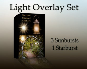 Light Overlay Set - Photoshop Overlay - Sunburst overlay - starburst - Sun Flare