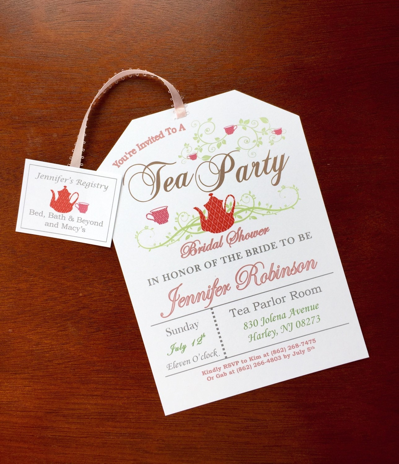 Tea party bridal shower invitations for Invitations for wedding shower