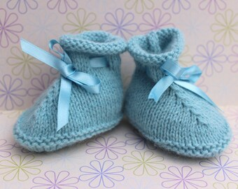 Preemie Booties, Baby Boy Crib Shoes, Baby Boy Booties, Light Blue Booties, Traditional Booties Infant Slippers,Baby Shoes,Hand Knit Booties