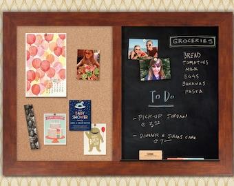 Honey Framed Combo Board --- Magnetic Chalkboard + Cork Board