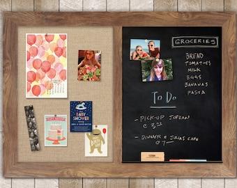 Barnboard Framed Combo Board --- Magnetic Chalkboard + Fabric Board