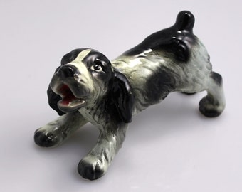 Vintage Goebel Black and White Spaniel Puppy Figurine