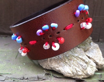 Tribal up-cycled leather beaded cuff
