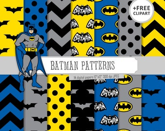Buy 2 Get 1 Free! Digital Paper Batman Patterns, Blue, Black, Gray and Yellow, chevron, polka dots, bat  for Label, seamless + clipart free