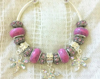 Dragonfly Charm Pink Stone Antique Rhinestone Beads Silver Plated Bangle 7.5 Inches