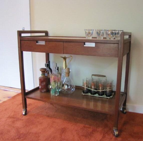 american of martinsville rolling bar cart mid century modern. Black Bedroom Furniture Sets. Home Design Ideas