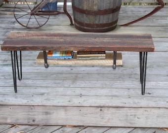 Reclaimed wood bench, industrial bench, vintage bench, vintage furniture, urban bench, industrial, reclaimed, urban, vintage, hairpin legs