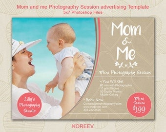 Mom and me Photography Session advertising Template - Photography Marketing - Photoshop template   INSTANT DOWNLOAD