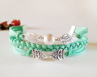 Little Owl Bracelet Wings Bracelet Mint green bracelet Mint suede bracelet Silver charm bracelet Friendship bracelet Leather bracelet