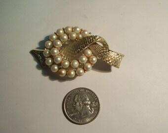 Vintage CORO Pegasus Faux Pearl Ribbon Brooch