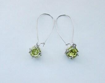 Long Drop Earrings,Mothers Day Gift,Silver Tone Kidney Earwire,August Birthstone Peridot,Dangle Earrings,Wedding Jewelry,Mothers Earrings