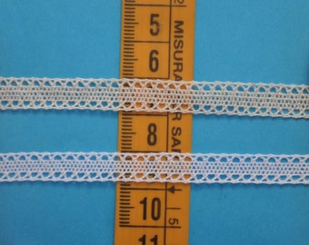 """1 meter white or ecru 100% cotton lace trim size 5/16"""" (8mm) dollhouse miniature scale 1:12 Made in Italy"""