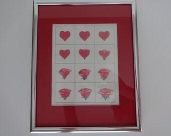Silver Framed Signed Art Print, Framed Art Print, Art Print, Signed Art Print, Red and Silver Art, Heart and Flowers Art Print,Framed Art