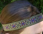 Men's Headband gypsy hippie mens gift black red blue gold cross Celtic design festival hairpiece 70s headbands Native American tribal Aztec