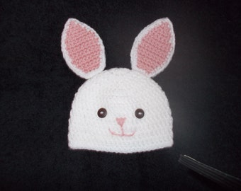Infant Easter bunny hat.  Made to order, sizes 0-3 months to 12 months.