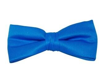 Royal Blue Satin Clip-On Bow Tie
