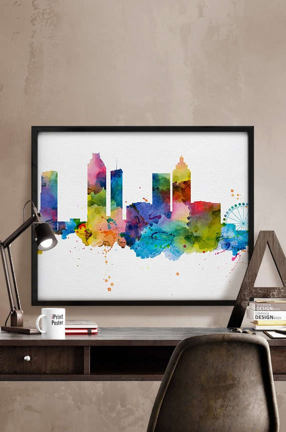 Atlanta Skyline Watercolor Atlanta Art Print By Iprintposter