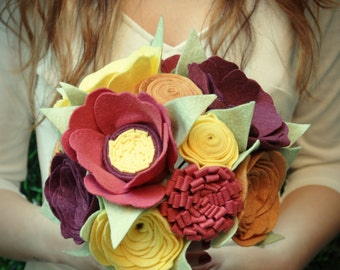 Bridal Bouquet, Wedding Bouquet, Felt Bouquet