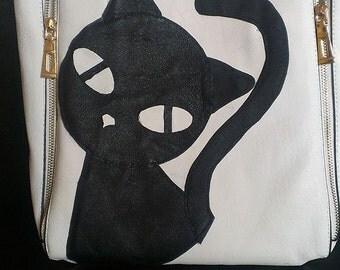 Handmade purse, leather handbag, Black cat handbag, cat lovers bag, shoulder bag, bags and purses, animal bag, bag finding, cat bag, gift