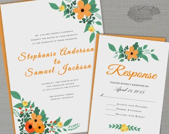 Rustic Printable Wedding Invitation, Country Wedding Invitation, Orange Floral Summer Wedding Invite - DIY