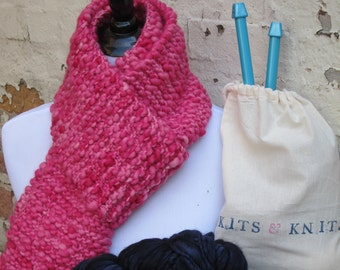 Knitting Kit DIY Beginner Knit your own scarf Kit includes chunky thick and thin yarn, large knitting needles, free pattern, project bag.