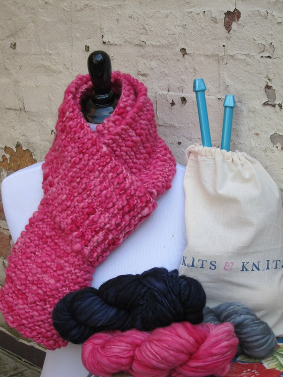 Knitting Diy Kits : Knitting kit diy beginner knit your own scarf includes