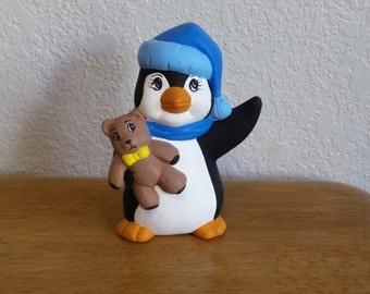 Ceramic Penguin with Teddy Bear (#39)