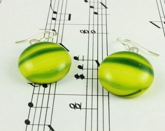 Fused Glass Earrings - Neon Lime Green with Blue Striped Streaks - Drop Dangle Earrings - Round Glass Cabochons 14mm