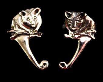 Possum stud earings - sterling silver 22mm