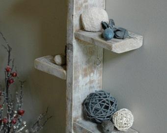 Four Tier White Rustic Shelf, Decorative Shelf, White Shelf, White Wood Shelf, White Pallet Wood Shelf, White Rustic Shelf, Pallet Shelves
