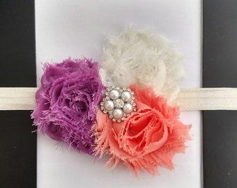 Pearl, rhinestone, purple, orange, ivory, flower, bow, headband, baby, toddler