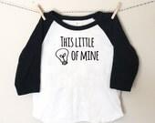 This Little Light of Mine Black & White Toddler Raglan Tshirt - Christian Kid Baseball Shirt - Toddler Bible Tee