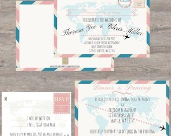 Printable Wedding Invites, Travel Theme Wedding, Destination Wedding Invites,Wedding Invitations, Print at home wedding invitiations,