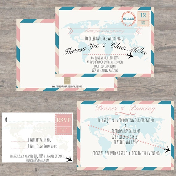 items similar to printable wedding invites, travel theme wedding, Wedding invitations