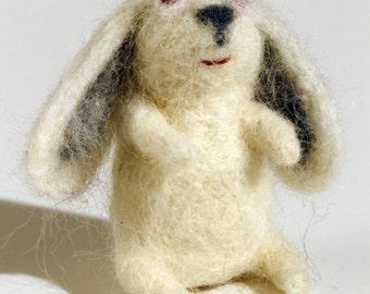 needle felted red eyed white bunny