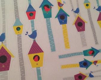 Birch tree birdhouse stickers set -  for your EC, PP, planner