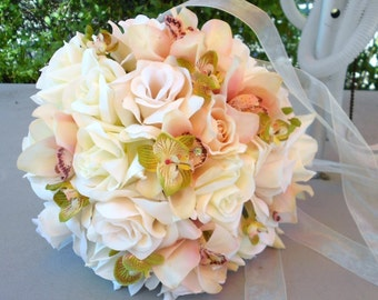 Pink ivory and green orchids and roses bride  bouquet round nosegay style free toss 2 pc