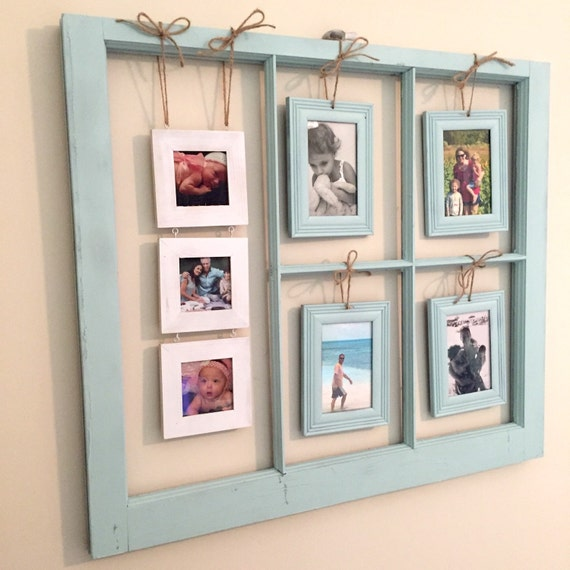 vintage window picture frame pale blue paint matching 3x3 4x6 frames photo