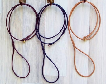 Premium Round Leather Dog Show Slip Lead