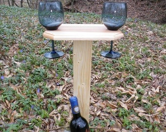 Outdoor Wine Glass Holder for Two Wine Glasses