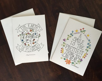 Pack of two hand-lettered printed 5x7 note cards.