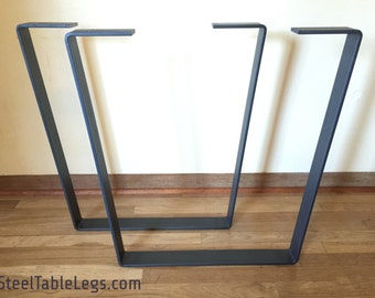 FREE SHIPPING! - Metal Dining Table Legs PAIR - Clear Coat - Steel Flat Bar - Modern/Industrial - Trapezoid