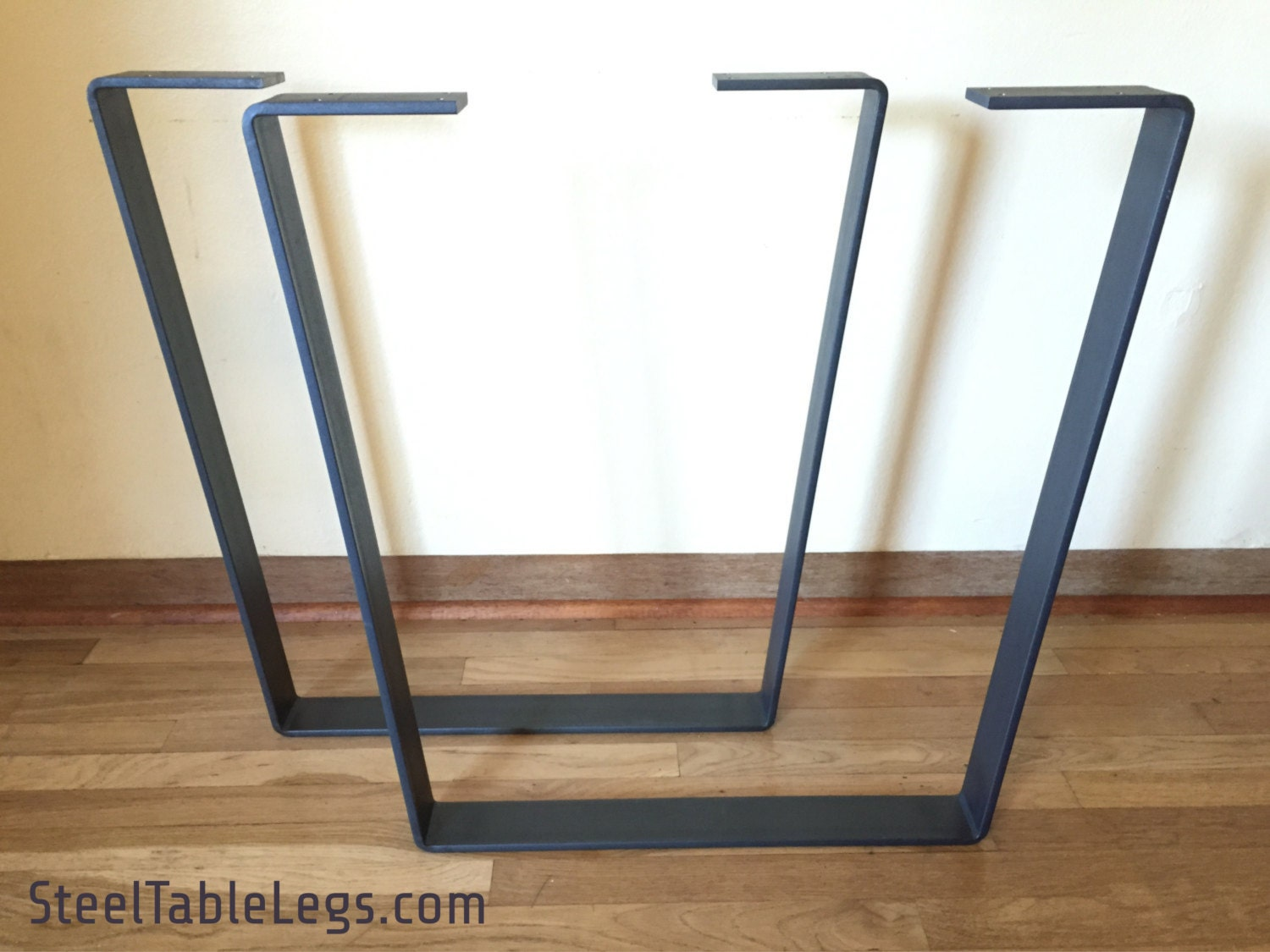Free shipping metal dining table legs pair clear by pdbsteel for Steel dining table legs
