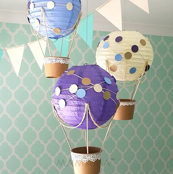Whimsical hot air balloon decoration diy kit purple nursery for Balloon decoration instructions