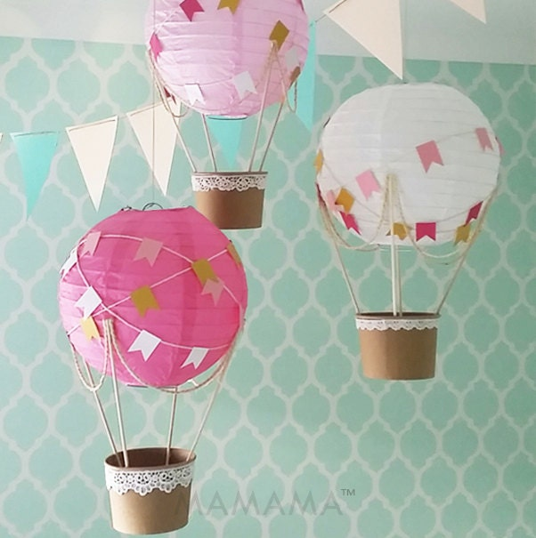 Giraffe Lamp For Nursery Whimsical Hot Air Balloon Decoration DIY kit HOT PINK
